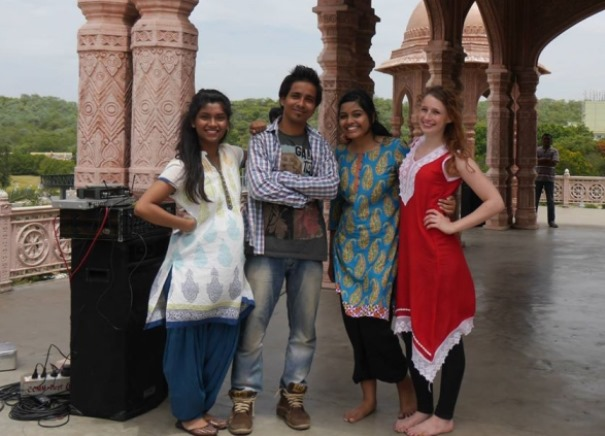foreign students in india shooting a dance sequence