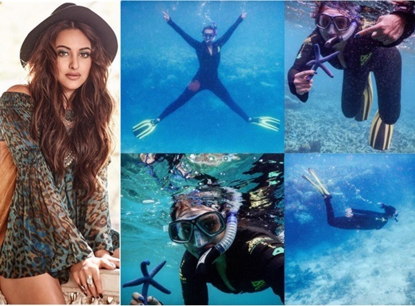 sonakshi sinha in great barrier reef, australia