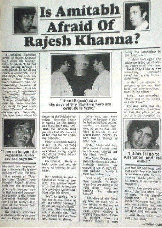 Is Amitabh Afraid of Rajesh Khanna