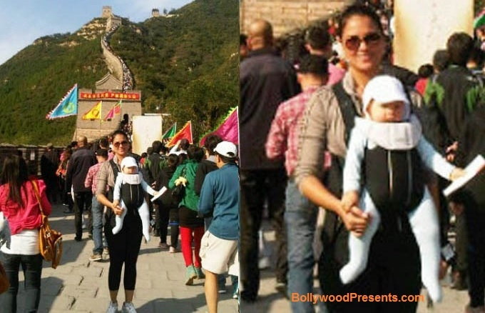 Lara Dutta With Daughter Saira Bhupathi At The Great Wall of China