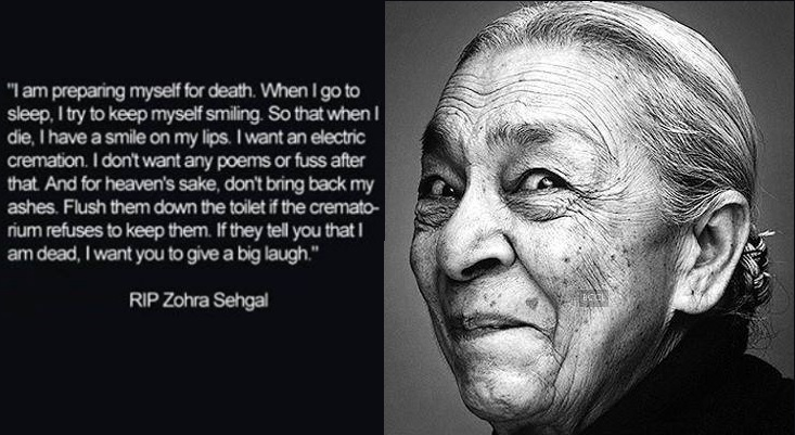 zohra sehgal on death
