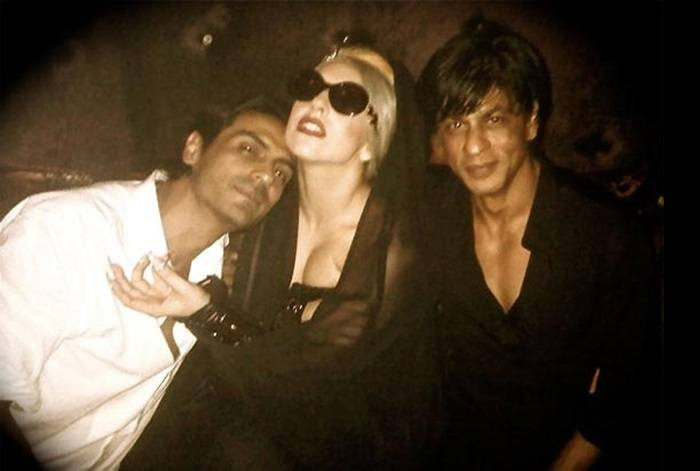 Arjun Rampal and Shahrukh Khan with Lady Gaga at Arjun's club Lap in Delhi