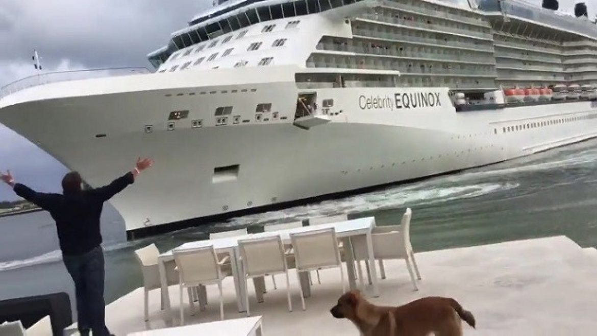 Cruise ship too close to sea facing home