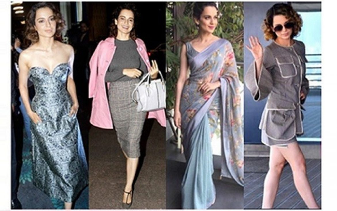 Kangana grey colour clothing dresses