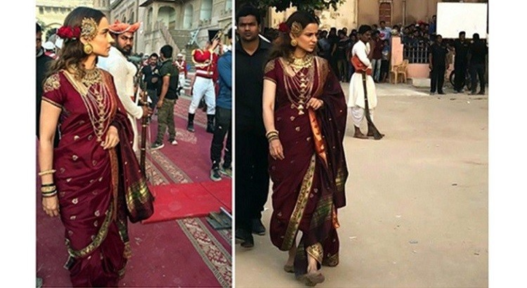 kangana's queen look (red wine saree) in manikarnika