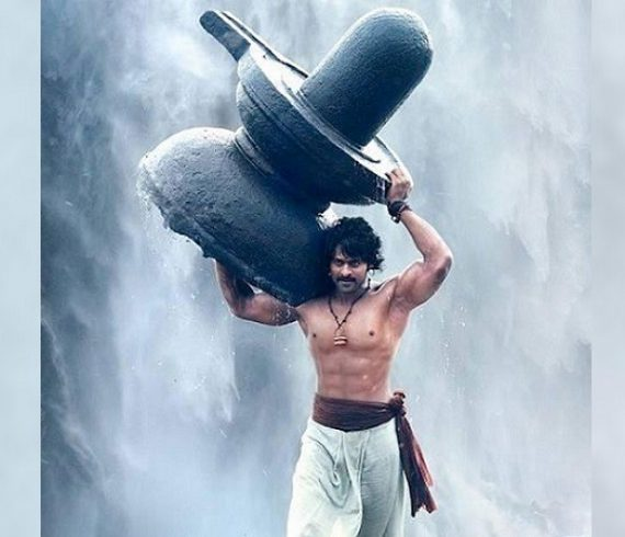 Prabhas carrying Shivling