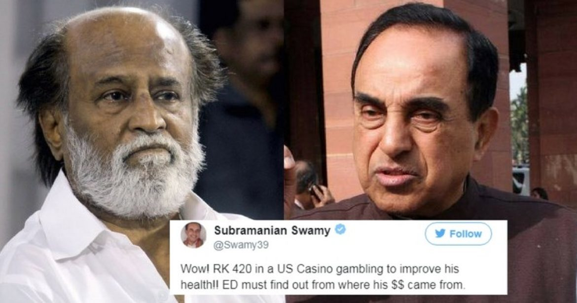 Subramanian Swamy takes a dig at Rajinikanth
