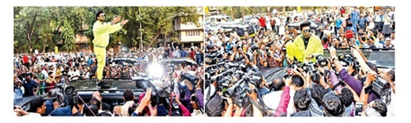 Ranveer singh atop car addressing media