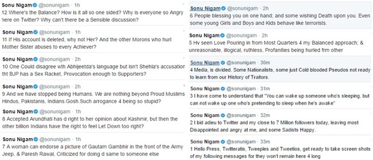 sonu nigam tweets before closing twitter account