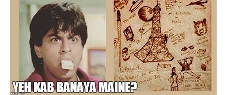 SRK Paris doodle is fake, it was drawn by a fan, and not by Shahrukh